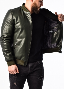 Весенняя кожаная куртка (американка, бомбер) ATROP1G