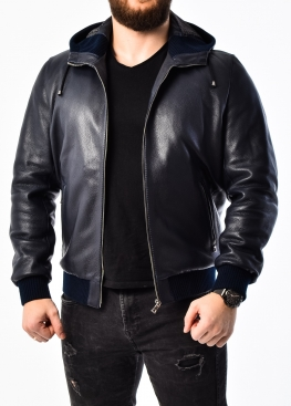Autumn leather jacket with a hood KTRS1I