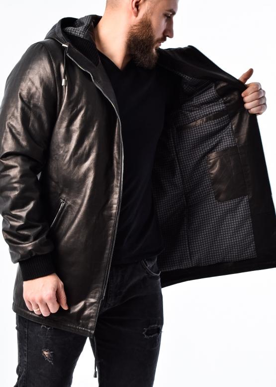"Autumn leather ""parka"" with a hood"