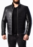 Men's down jacket leather fitted PHL1B