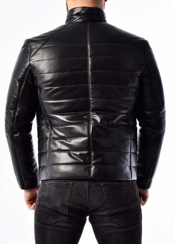 Men's down jacket leather fitted