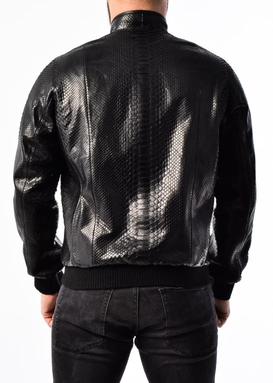 Spring jacket made of genuine python leather