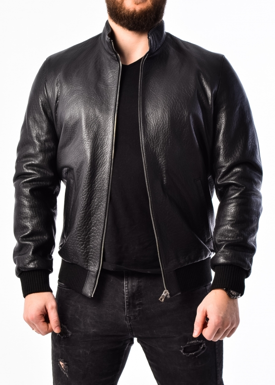 Autumn leather jacket with elastic band