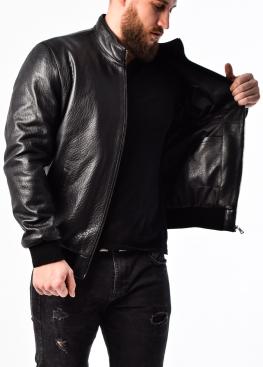 Осенняя кожаная куртка под резинку TRS1B