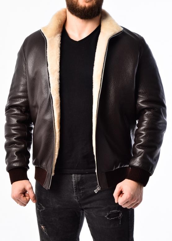 Зимняя кожаная куртка с мехом под резинку