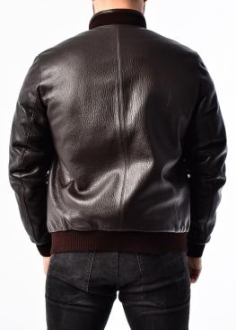 Зимняя кожаная куртка с мехом под резинку  TRS2KV