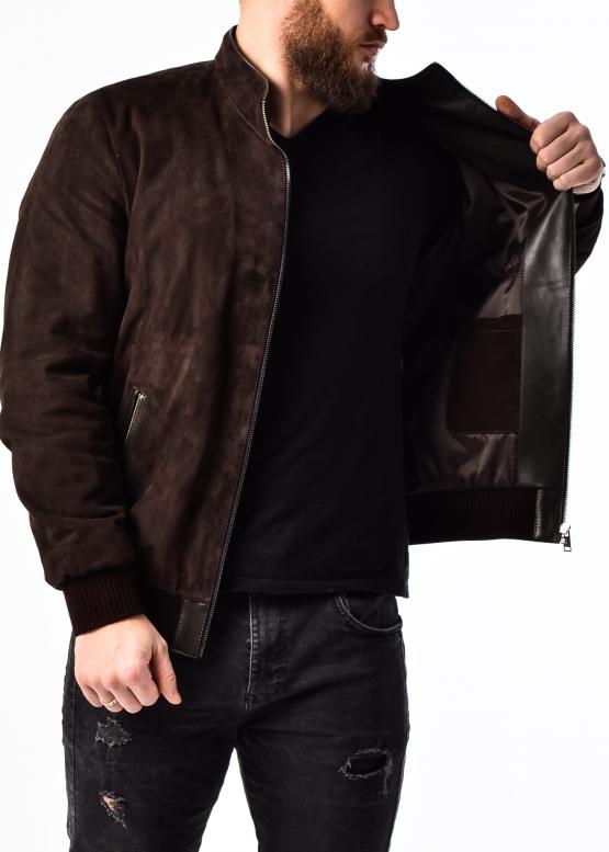 Весенняя замшевая мужская куртка под резинку