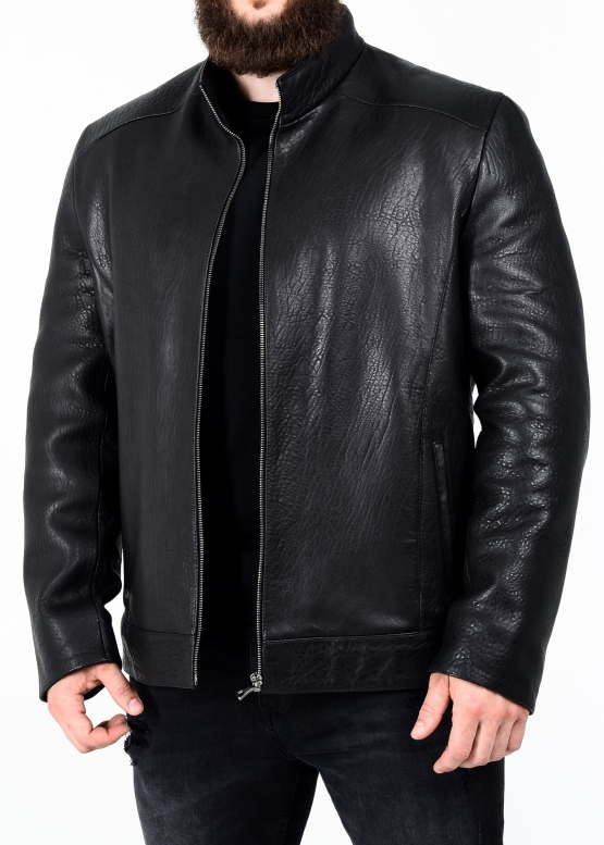 Autumn leather jacket men's fitted