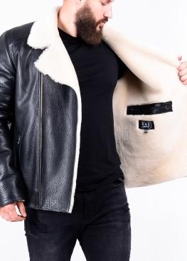 Зимняя кожаная куртка косуха из кожи теленка NKOSOP2BV