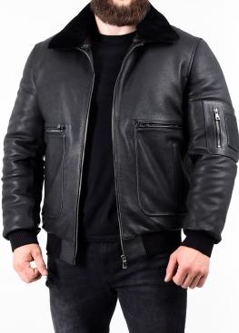 """Осіння куртка зі шкіри теляти """"пілот"""" PILOP1B"""