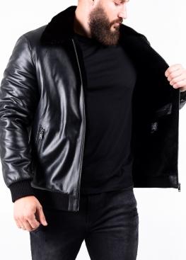 Зимова шкіряна куртка з норковим коміром TRAS2BN