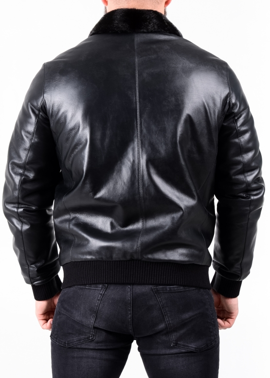 Winter leather jacket with a mink collar