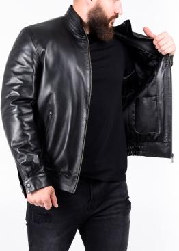 Autumn leather jacket with elastic band TRKAP1B