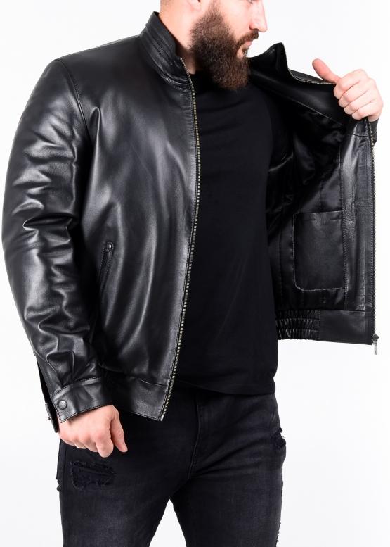 Autumn leather jacket with elastic band