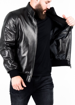 Spring leather jacket with elastic band TRL0B
