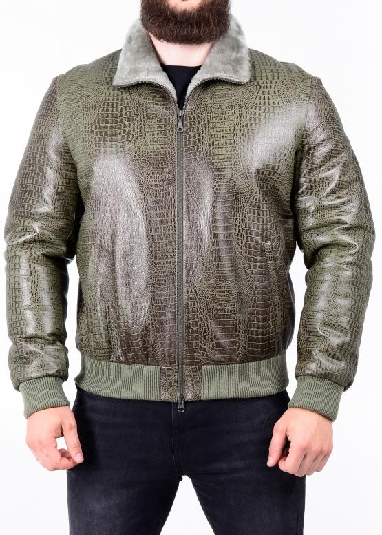 Зимова шкіряна куртка з хутром під резинку