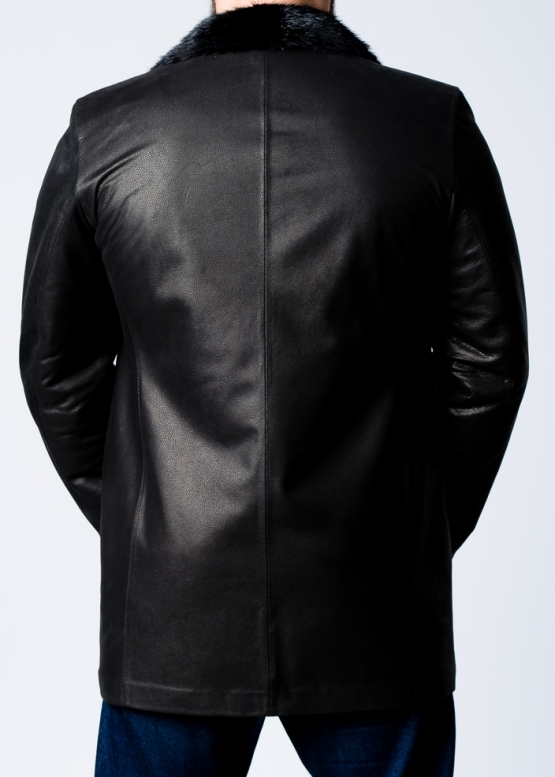 Winter leather short coat with fur