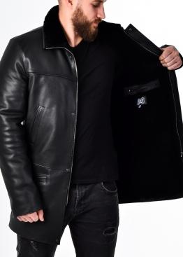 Зимнее кожаное пальто на меху 94OP2BB