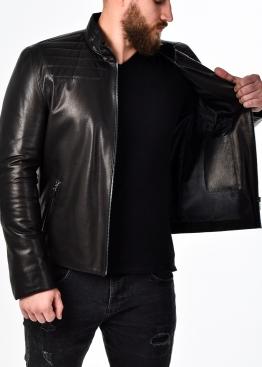 Осенняя приталенная кожаная куртка мужская AROP1B