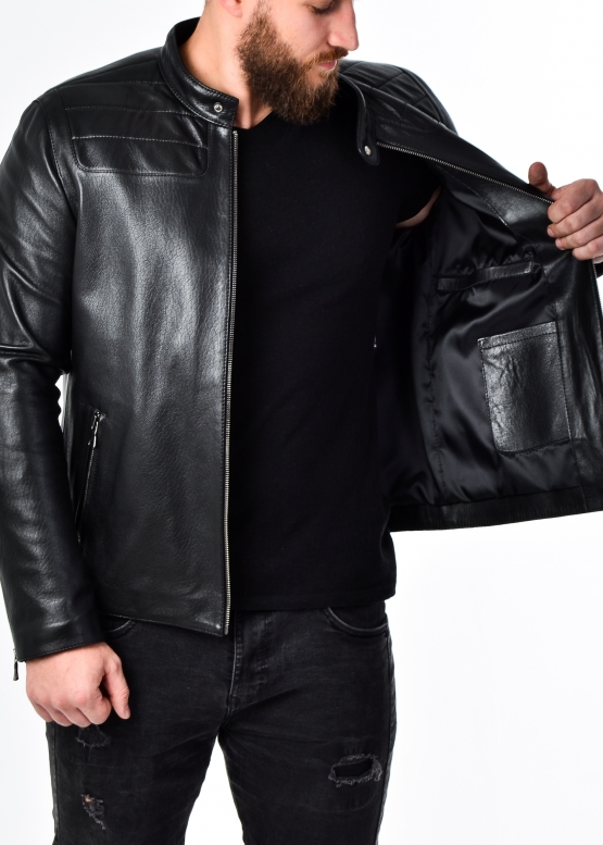 Autumn fitted leather jacket for men