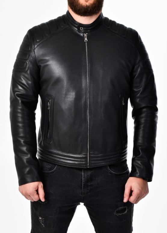 Осенняя приталенная кожаная мужская куртка