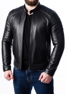 Весенняя приталенная кожаная мужская куртка FORDS0B