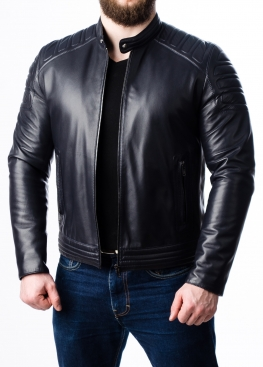 Весенняя приталенная кожаная мужская куртка FORDS0I
