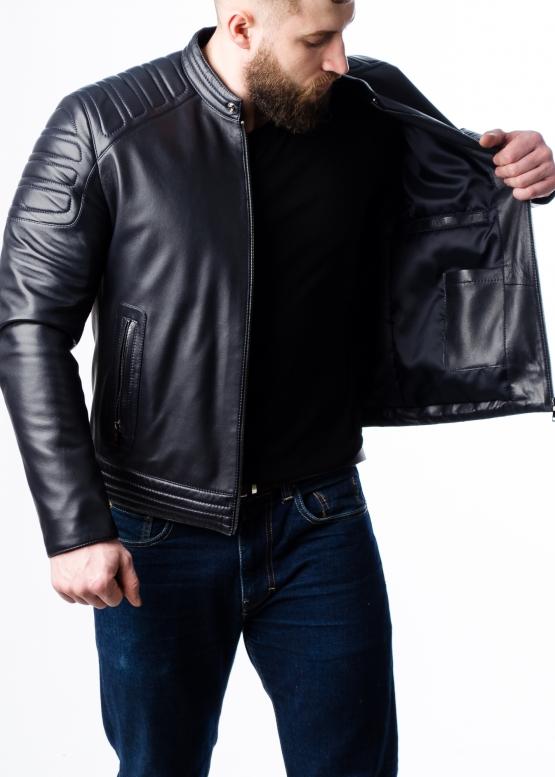 Весенняя приталенная кожаная мужская куртка