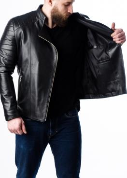 Весенняя кожаная куртка-косуха мужская MKL0B