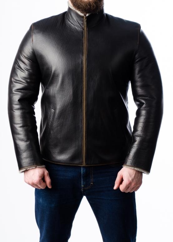 Зимняя кожаная куртка с мехом