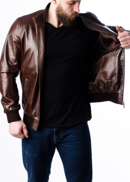 Весенняя кожаная мужская куртка под резинку TRL0K