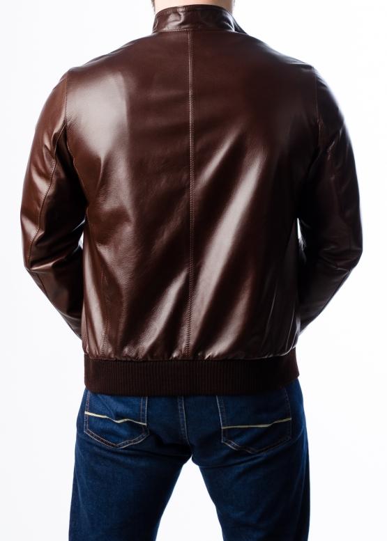 Весенняя кожаная мужская куртка под резинку
