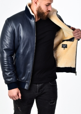 Winter leather jacket with fur under elastic band TRS2IV