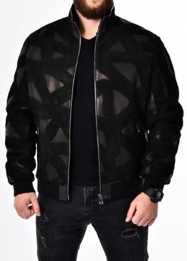 Зимняя кожаная куртка с мехом под резинку TRU2BB