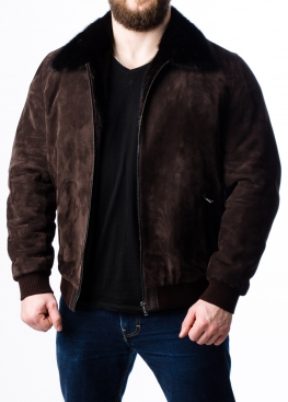 Winter suede jacket with a mink lining TRZ2KNN