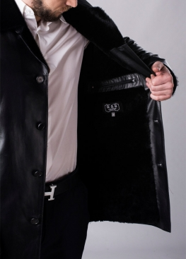Winter leather coat with fur 63L2BB