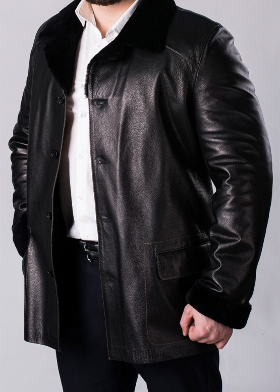 Winter leather coat with fur