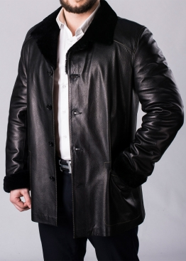 Зимнее кожаное пальто на меху 65A2BB