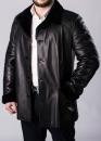 Зимове шкіряне пальто на хутрі