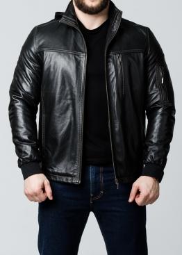 Осенняя кожаная куртка с капюшоном 76L1B