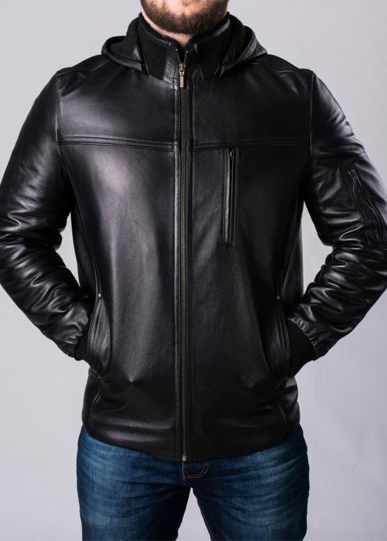 Зимняя кожаная куртка с капюшоном на меху