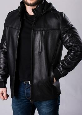 Зимняя кожаная куртка с капюшоном на меху 76L2BB