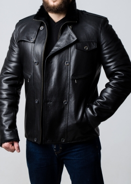 Winter leather jacket with fur 77S2BB