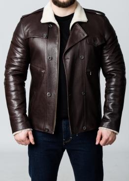 Зимняя кожаная мужская куртка с мехом 77S2KV