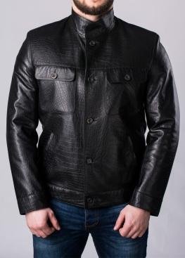 Осенняя приталенная куртка из кожи 88R0B