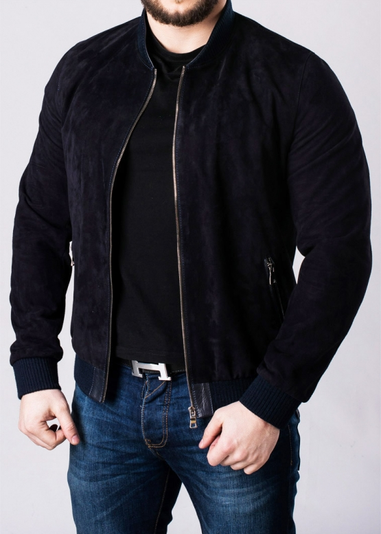 Весенняя замшевая куртка под резинку мужская