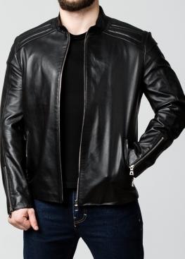 Весенняя кожаная куртка приталенная мужская FILL0B