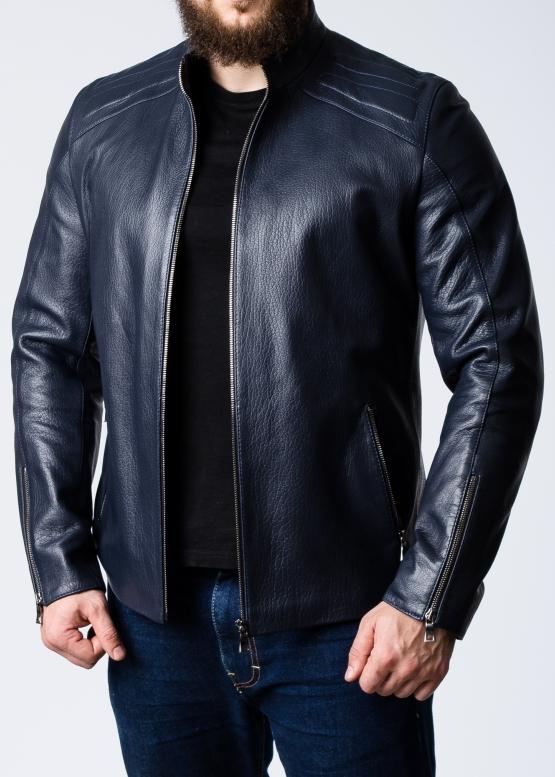 Весенняя приталенная куртка из кожи