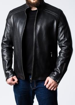 Осенняя кожаная куртка приталенная FILS1B