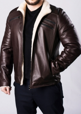 Winter leather men's jacket with fur JARS2KV